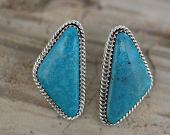 Native American Navajo Sterling Silver Turquoise Post Earrings