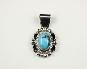Native American Indian Jewelry Handmade Sterling Silver Turquoise Pendant