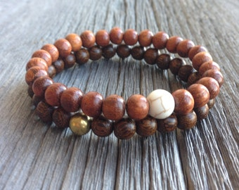 Men's Double Beaded Bracelet - 8mm Madre de Cacao and Bayong Wooden Stretch Bracelet