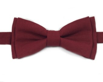 Burgundy Bow Tie, Self Tie Bow Tie, Pre Tied Bow Tie, Casual Bow Ties, Bow Ties for Boys, Mens Bow Tie, Made in Michigan, Handmade Bow Ties