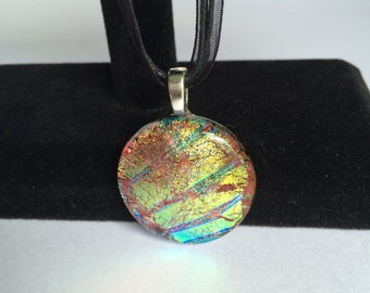 Orange, Gold and Green Round Dichroic Fused Glass Pendant