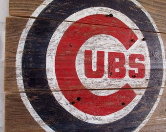 Vintage Chicago Cubs Baseball Reclaimed Wood Sign