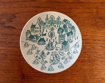 Mid Century Nymolle Art Faience Hoyrup Small Dish or Plate | Made in Denmark Limited Edition 4006 | Pin Dish Valet