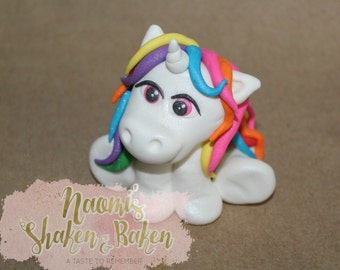 1x Edible Unicorn 7-9cm Fondant Cake Topper
