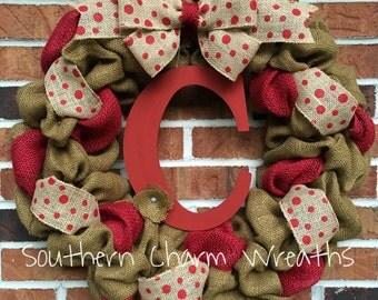"""18"""" Red & Camel Burlap Polka Dot Initial Wreath"""