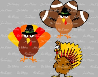 Turkey SVG DXF EPS, turkey file, svg files, svg files for cricut, silhouette files, thanksgiving files, turkey designs,turkey football