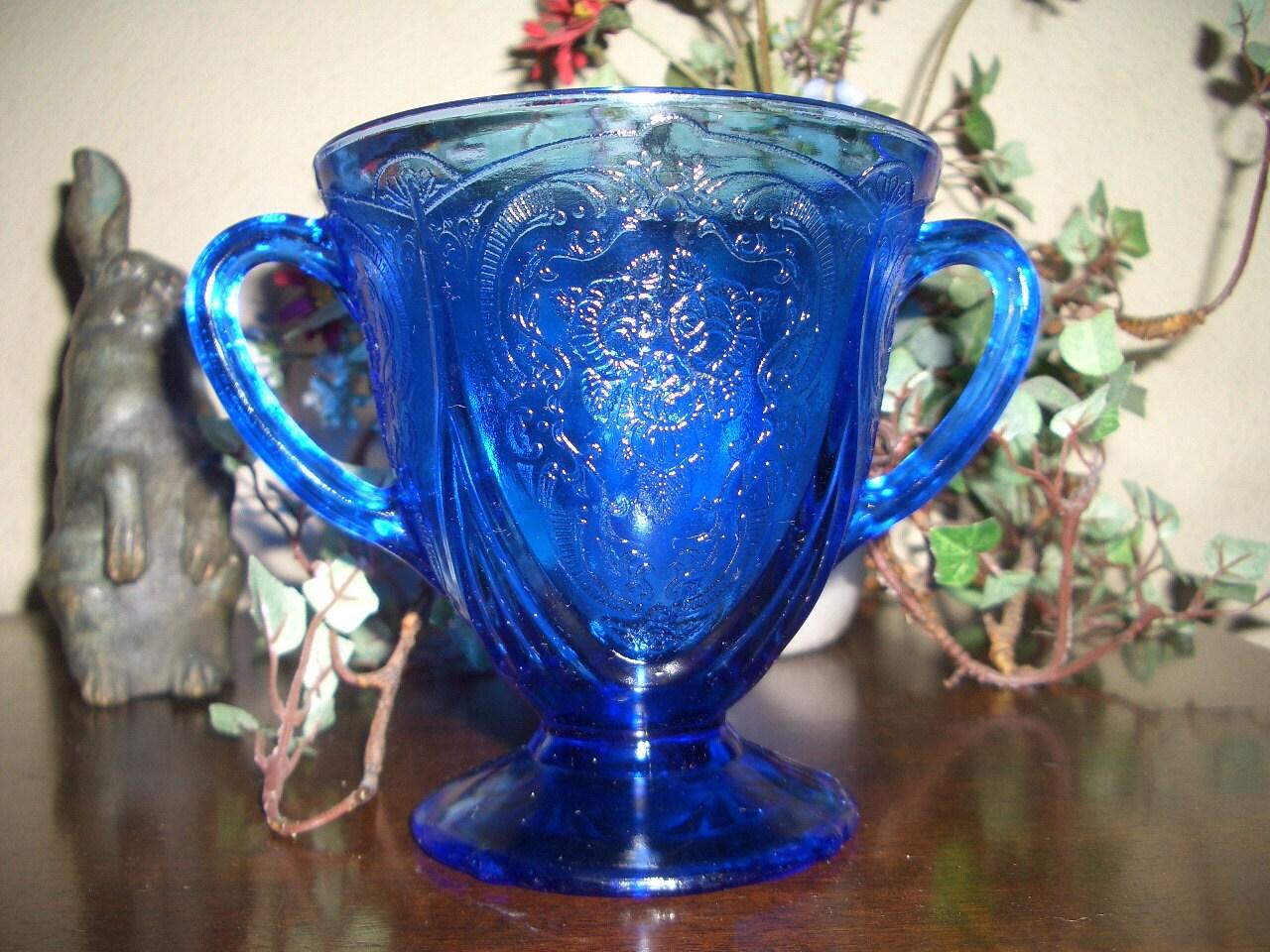 Depression Glass Cobalt Blue Sugar Bowl...Hazel-Atlas