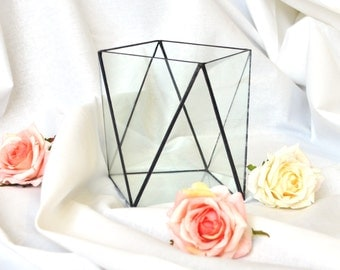 Geometric terrarium Stretched Topaz 3 sizes. Modern wedding table glass centerpieces, vase, candle holder