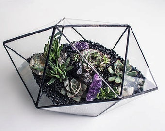 Hexadecahedron 3 sizes / Geometric Glass Terrarium / Glass candle holder