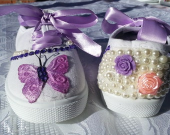 Pink and Purple butterfly shoe. Size 10
