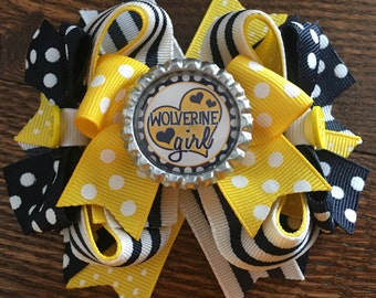 Michigan Wolverine Stacked Hair Bow