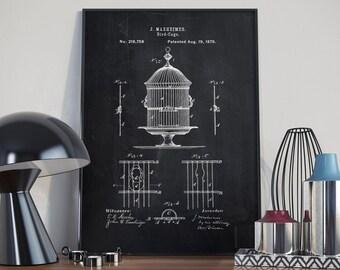 Bird Cage Patent, Bird Cage Print, Home Decor, Bird Cage Poster, Patent Poster - DA0371