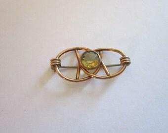 Pin Gold Filled and Faux Peridot Brooch - Beautiful!
