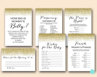 Gold Baby Shower Game Printable, Game Package, Instant Download, Gold Baby  Shower Games