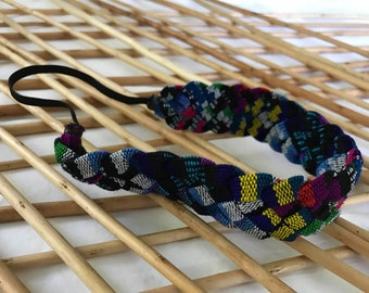 Elastic Multicolor Woven Headband/Guatemalan Elastic Multicolor Headband/Hippie Multicolor Headband/Multicolor Elastic Diadem