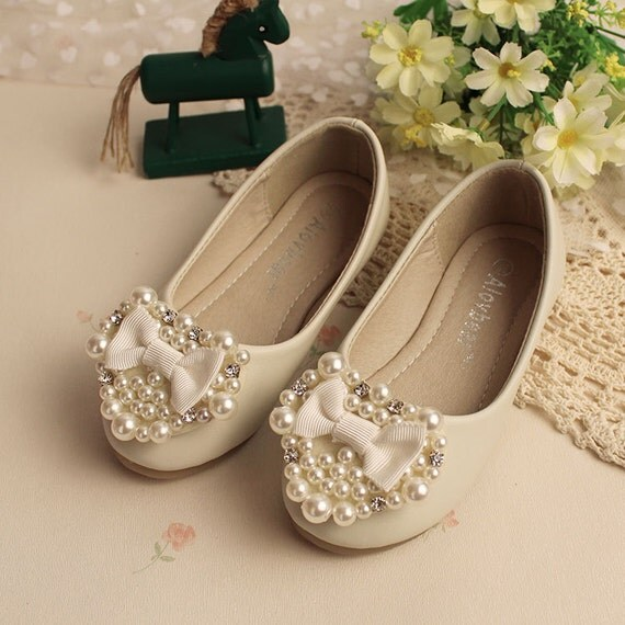 ivory flower girl shoes cute white bow girls pearl love