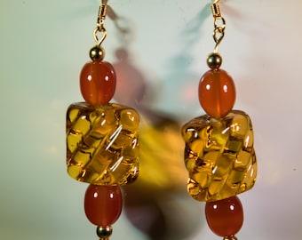 Amber glass lampwork earrings-A232