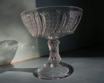 Jam Stand ~ Jelly Compote ~ Doric or Feather Early American Pattern Glass by McKee Glass