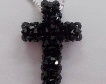 Puffy Crystal Cross Necklace