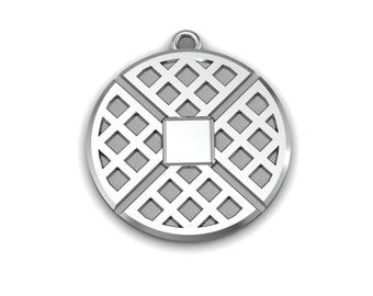 Waffle Sterling Silver Pendant
