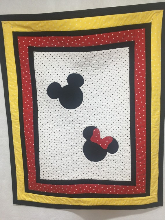 Minnie And Mickey Mouse Inspired Quilt Blanket Baby Shower