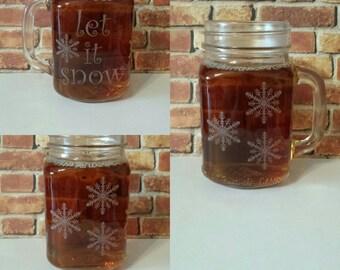 Christmas Gift,Family Gift,Custom Etching,Custom Mason Jar Mug,Personalized Mason Jar Mug,Etched Glassware,Home Decor,Wedding Gift