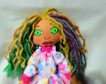 Fairy Rag doll   ,  doll, cloth doll, handmade doll, pink,green, purpule , gift for a girl