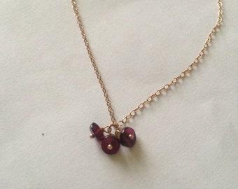 Rose gold filled + garnet necklace