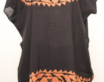 Binni Blouse Brown  HAND EMBROIDERY T-XL
