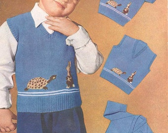 PDF Knitting Pattern- Boys hare and tortoise sweater tank top and cardigan in 3 ply- vintage