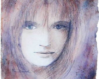 the girl with a naughty look  watercoloured drawing  30x30cm- 600gr Arches paper paper
