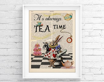 Vintage Illustration Print Decorative Art Book Page Upcycled Page Print - Alice In Wonderland Wall decor Retro Poster Vintage Book print 049