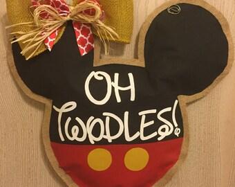 Mickey/Minnie Mouse Painted Burlap Door Hanger