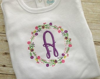 Girls Monogrammed Shirt - Girls Monogram Shirt - Personalized Girls Shirt - Girls Custom Bodysuit -Girl Gift -Newborn Girl Gift -Baby shower