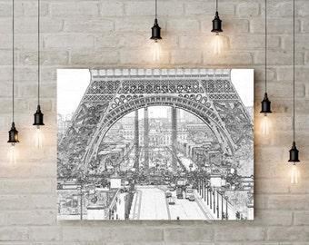 Eiffel Tower Art, Printable Paris Wall Art Decor, Printable Art, Paris Illustration, Paris Wall Prints, Large Wall Art, Large Printables