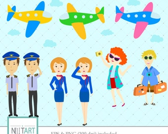 Airplane clipart , airline crew clipart, vector graphics, flight attendant clipart, digital images - CL 090