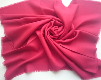 DEEP RED Kreier of Switzerland 100% Wool Square Scarf - Large Amount of Stunning Scarves From Vintage 1970/1980 Stock