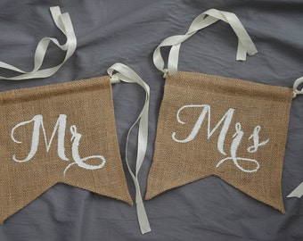 Burlap Wedding Chair signs,His Hers chair tags,Wedding Chair Signs,chair tags,Wedding Reception Chair Signs,modern calligraphy,Wedding chair