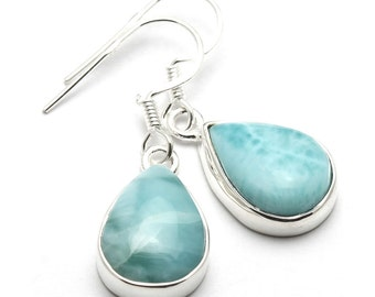 Larimar Earrings, 925 Sterling Silver, Unique only 1 piece available! color blue, weight 4.4g, #44171