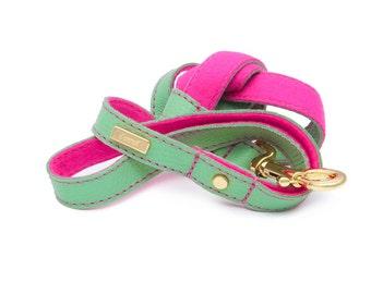 Dog Leash, Dog Lead, Leather dog lead, Leather Dog Lead, Leather Leash, Mint Leather Dog Lead, Pink dog leash, Lurril, UK, dog collar