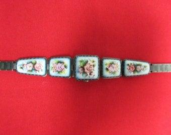 Vintage Russian Peekaboo Yanka Porcelain Flip Open Hidden Watch Bracelet