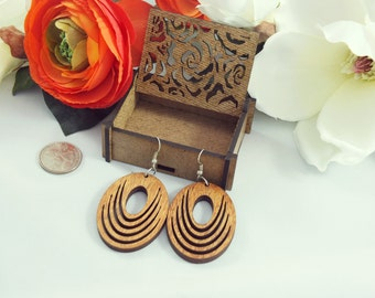 Laser cut wood earrings #6