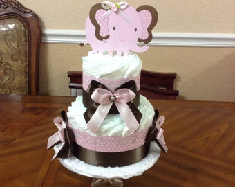 Elegant Diaper Cake Pink and Brown/ 2 Tier Elephant Diaper Cake/ Centerpiece/ Gift for Baby Shower.