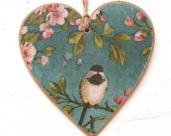 Bird & Blossom hanging heart