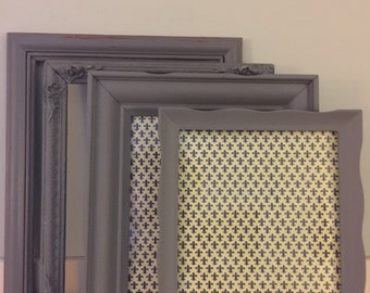 Dark Gray Shabby Distressed Chic Picture Frames  Set of 4, MADE TO ORDER