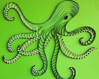 Handmade Quilled Paper Octopus Art