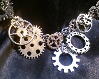 Steampunk Gear Necklace Industrial Chic Silver Metal Cogs Chain