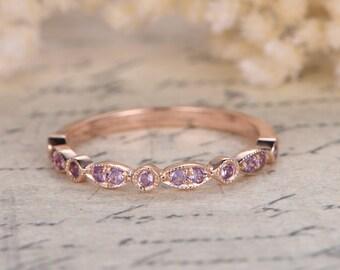 Amethyst Wedding Bands Half Eternity Bands Bezel Engagement Ring  Milgrain Wedding Band Art Deco Diamond Wedding Ring in 14k Rose Gold