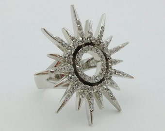 Star/Sun shaped retro silver ring with white stones - 20% OFF SALE