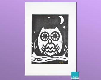 Owl lino print - Unframed, by UpsideBrown